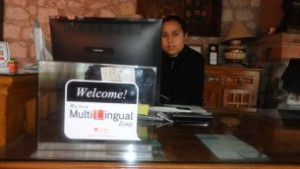 "A woman at a hotel reception desk in Mexico uses the Lexifone app to speak to clients from abroad, hearing the conversation in Spanish, regardless of the language spoken by the other party. ""Mexico is now a Multi-Lingual Zone, thanks to Lexifone,"" said Itay Sagie, the company's director of marketing."